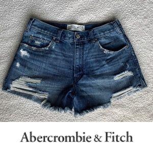 A&F High rise jean shorts